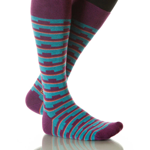 Sunset Mesa Socks; Men's or Women's Supima Cotton - Blue/Red - XOAB