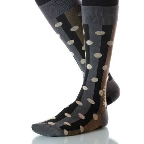 Acorn Polka Stripe Socks; Men's or Women's Merino Wool Gray/Black XOAB