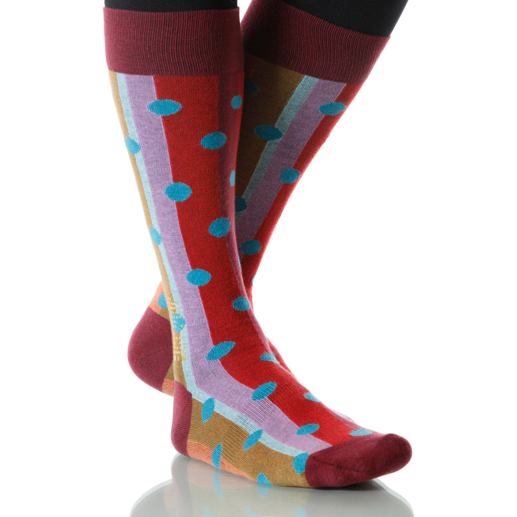 Carnival Polka Stripe Socks; Men's or Women's Merino Wool Red XOAB