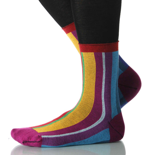 Rainbow Vertical Stripe - Ankle Height