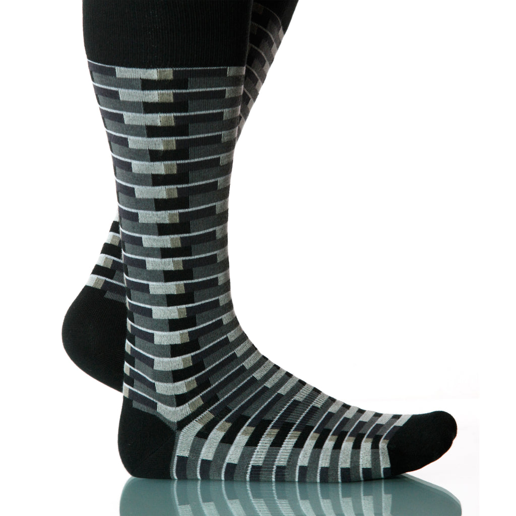 Night Singapore Socks; Men's or Women's Merino Wool Black/Gray XOAB