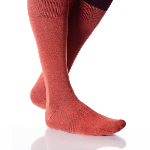 Coral Solid Socks; Men's or Women's Merino Wool - Orange - XOAB