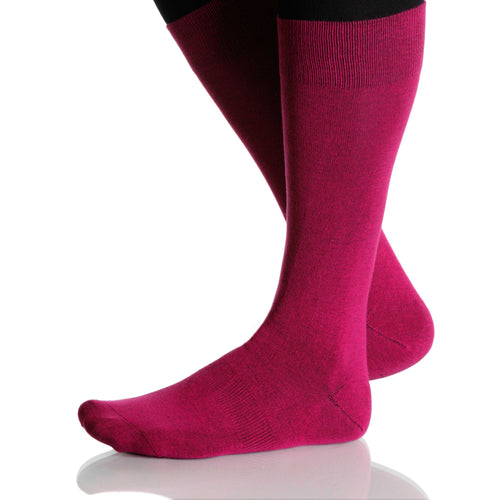 Fuchsia Solid Socks; Men's or Women's Merino Wool - Pink - XOAB