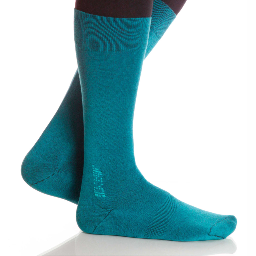 Teal Solid Socks; Men's or Women's Supima Cotton - Blue - XOAB