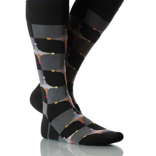 Black Stardust Socks; Men's or Women's Merino Wool - Black - XOAB