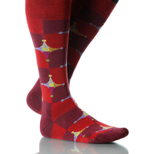 Red Stardust Socks; Men's or Women's Merino Wool - Red - XOAB