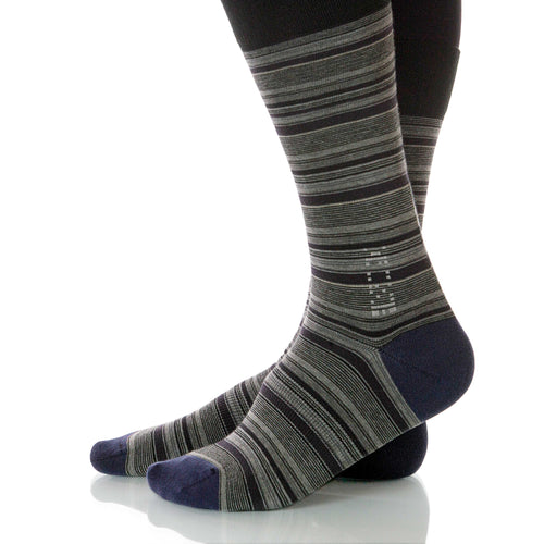 Anthracite Strata Socks; Men's or Women's Supima Cotton Gray XOAB