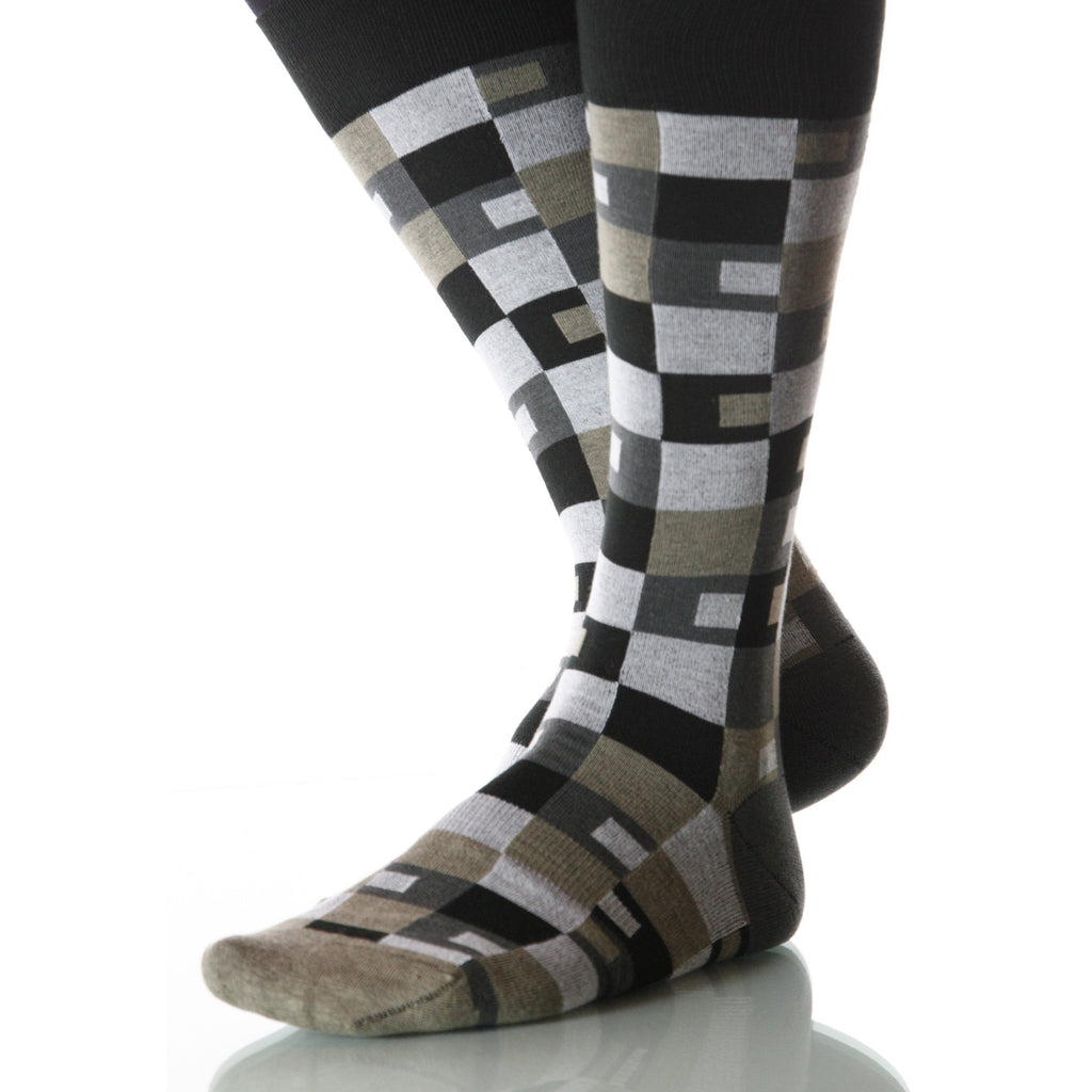 Desert Taos Socks; Men's or Women's Supima Cotton Tan/Gray/Brown XOAB