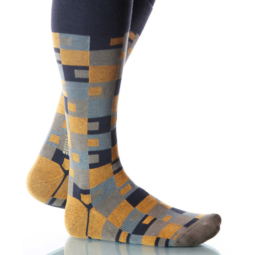 Sienna Taos Socks; Men's or Women's Merino Wool Yellow/Black/Gray XOAB