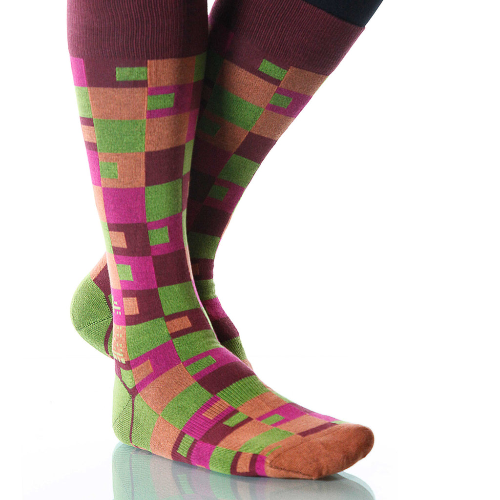 Spring Taos Socks; Men's or Women's Merino Wool Green/Pink/Orange XOAB