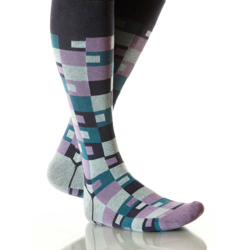 Twilight Taos Socks; Men's or Women's Merino Wool Blue/Purple XOAB