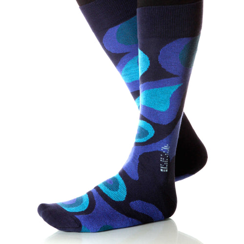 Royal Blue Valentine Socks; Men's or Women's Merino Wool Blue XOAB