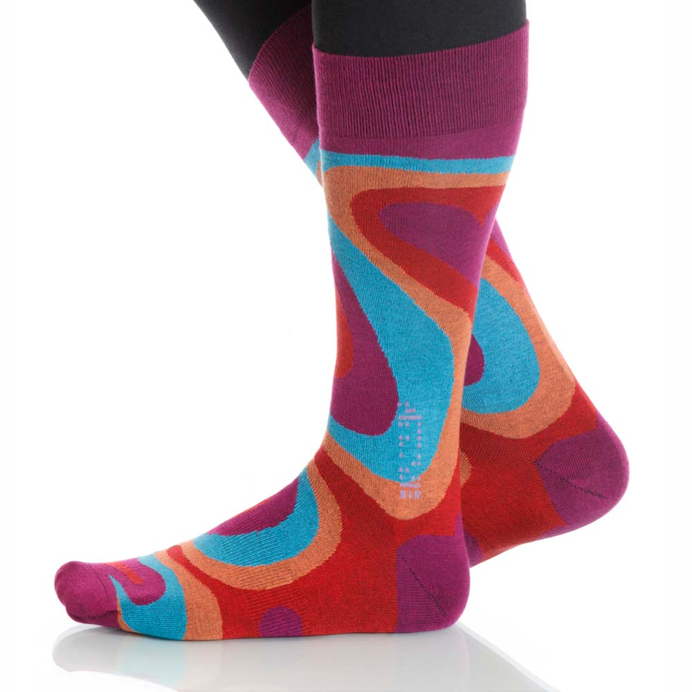 Ruby Valentine Socks; Men's or Women's Merino Wool Red/Blue XOAB