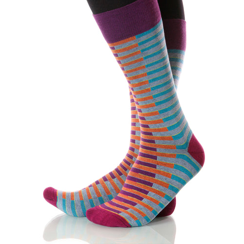 Carnival Venetian Socks; Men's or Women's Merino Wool Teal/Orange XOAB