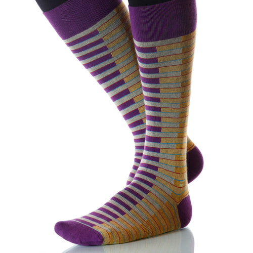 Carousel Venetian Socks; Men's or Women's Merino Wool - Purple - XOAB