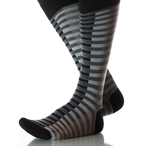 Opera Venetian Socks; Men's or Women's Merino Wool - Gray/Black - XOAB