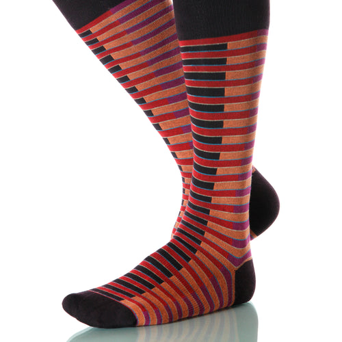 Crimson Venetian Socks; Men's or Women's Merino Wool - Red - XOAB