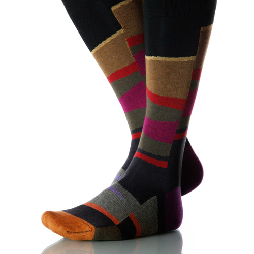 Canyon Vista Socks; Men's or Women's Merino Wool Black/Red/Brown XOAB