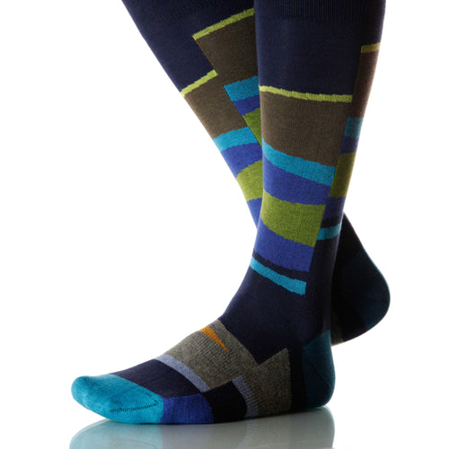 Ocean Vista Socks; Men's or Women's Merino Wool - Blue/Green - XOAB