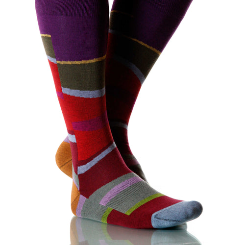 Sunset Vista Socks; Men's or Women's Merino Wool - Red/Purple - XOAB