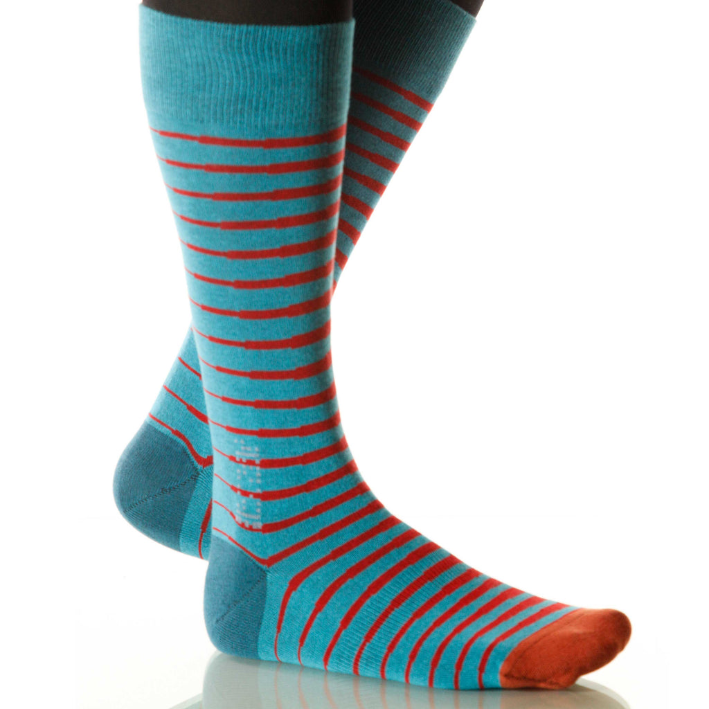 Superhero Zebra Socks; Men's or Women's Merino Wool - Red/Blue - XOAB