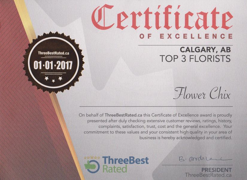 Flower Chix Named in Top Three Florists in Calgary!