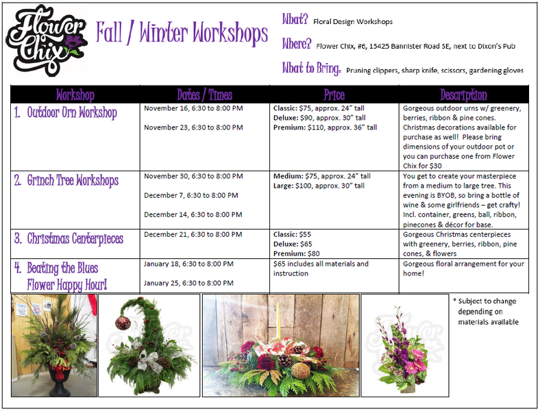Flower Chix Grinch Tree Workshops Now Available & More!
