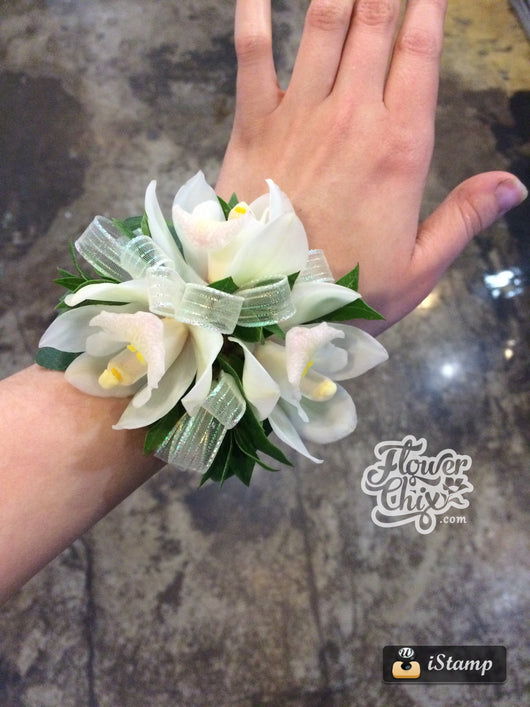 White Cymbid Orchid Corsage