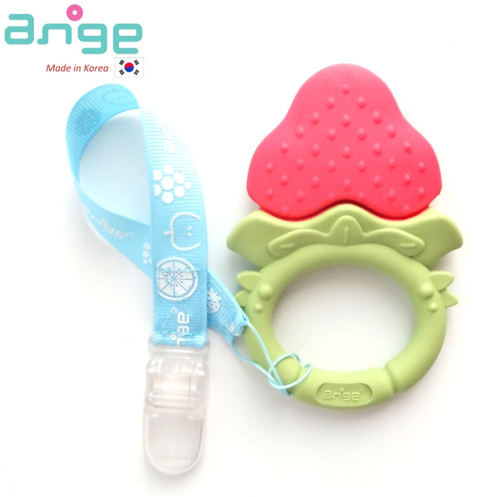 NEW Fruit Teether Ring with Clip (Strawberry)