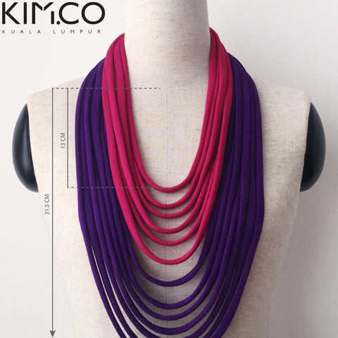 KIM.CO Womens Neck Scarf (FLOW Duotone) Necklace Pink & Purple Strips