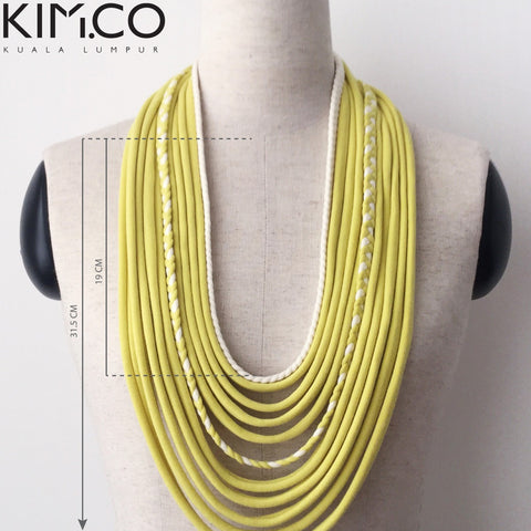 KIM.CO Womens Neck Scarf (FLOW Special) Necklace Yellow & White with Braids