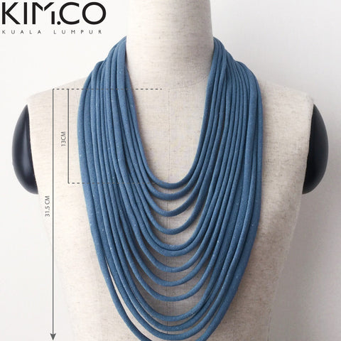 KIM.CO Neck Scarf (FLOW Bespoke) Necklace Shimmering Grey Strips & Handle