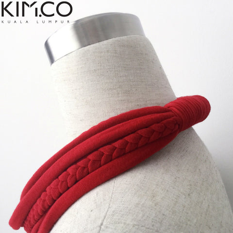 KIM.CO Neck Scarf (CIRCLET Special) Necklace Scarlet Red with Braids