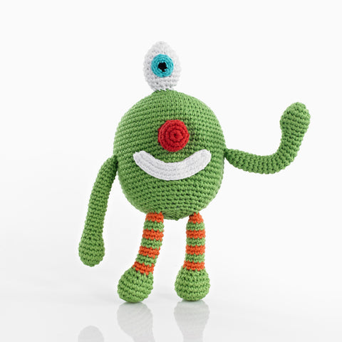 Pebble Rattle – Chubby Monster Cheeky Green