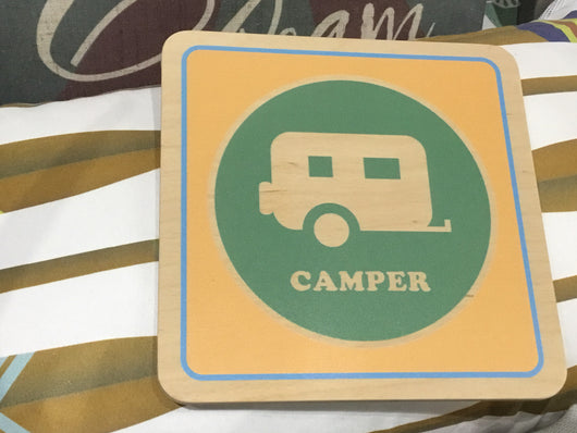 "Camper and Lake Life Wall Art 7""x7"" ea"