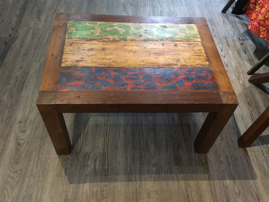 Coffee table made from recycled boat wood.