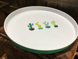 Alfresco enamel serving tray with cacti