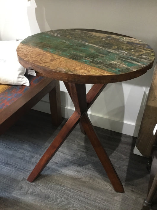 Reclaimed Boat Wood Round Table