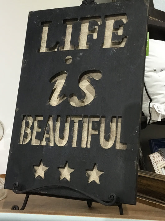 Life is Beautiful Metal and Wood Sign