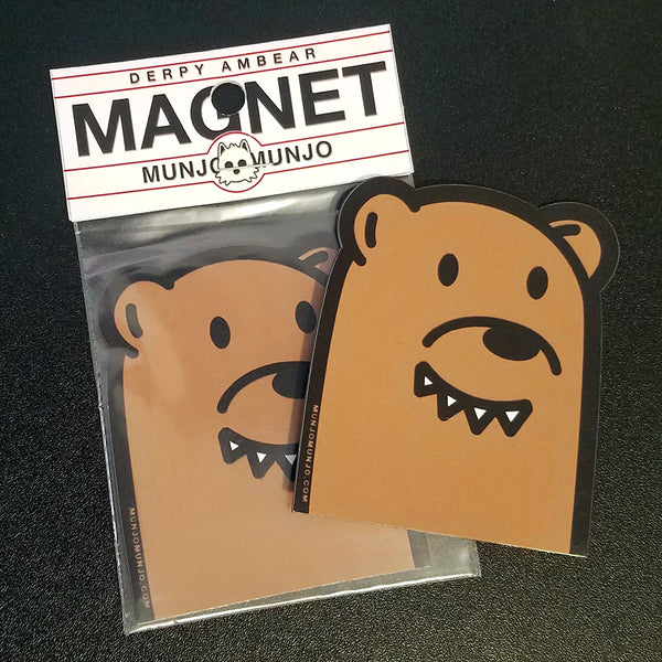 magnet bear cute anime ambear sticker munjo raleigh artist local handmade