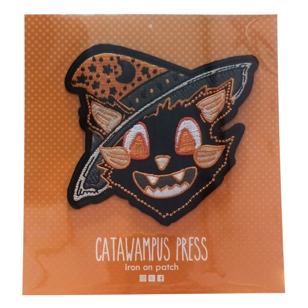 "Black Cat wearing an orange and black 'witch hat"" Iron on patch"