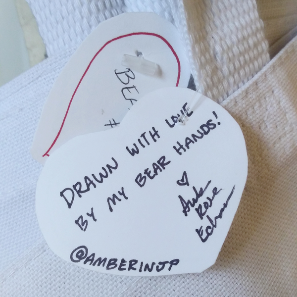 hand-cut and  written tags signed by Amber for Bear Tote