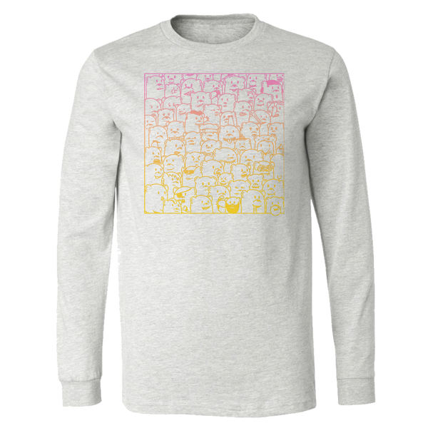 ash grey long sleeve shirt with pink to yellow gradient print of 'bear hangs' art featuring bears of all kinds being themselves