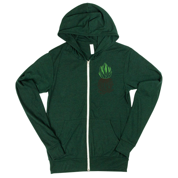 succulent zip up lightweight hoodie aloe plant green thumb roots