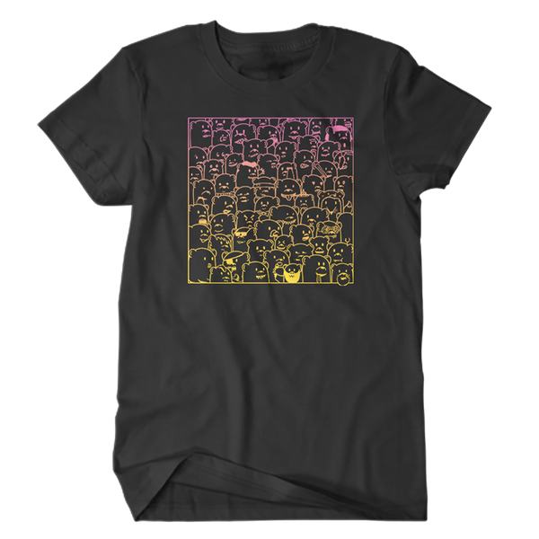 super soft black tee shirt with pink to yellow gradient print of 'bear hangs' art featuring bears of all kinds being themselves