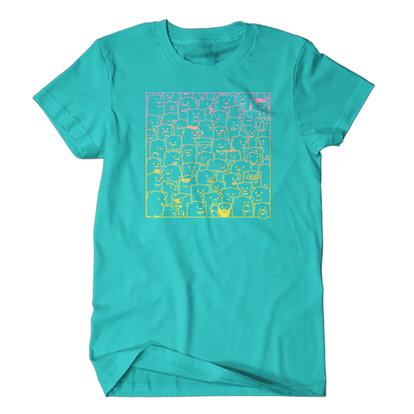 super soft teal tee shirt with pink to yellow gradient print of 'bear hangs' art featuring bears of all kinds being themselves on sizes 2X