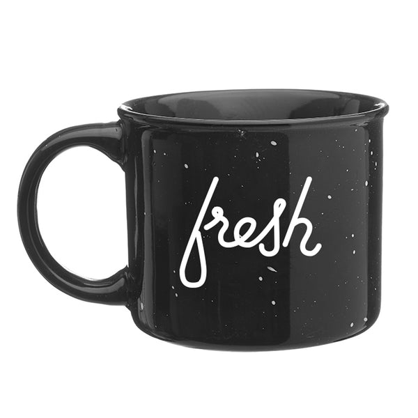 camp mug with fresh AF, coffee, lettering, lettering artist, hand-drawn font, street art, streetart freshAF