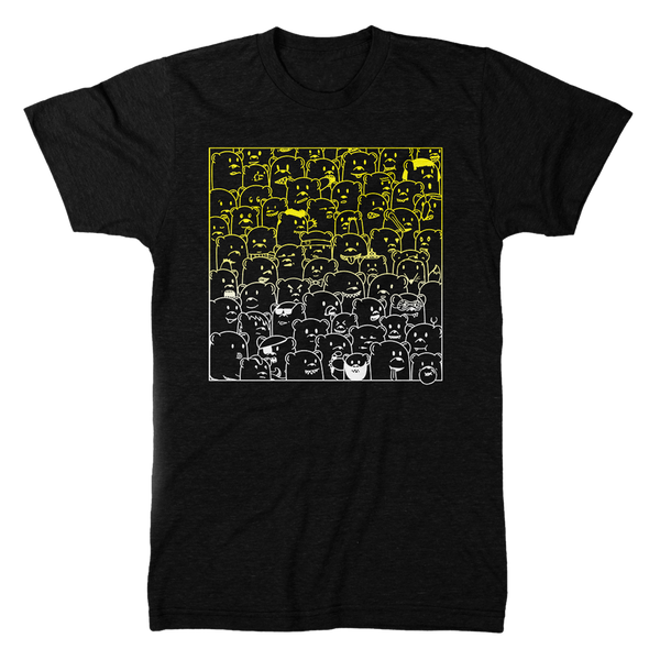 super soft charcoal grey tee shirt with yellow to white gradient print of 'bear hangs' art featuring bears of all kinds being themselves