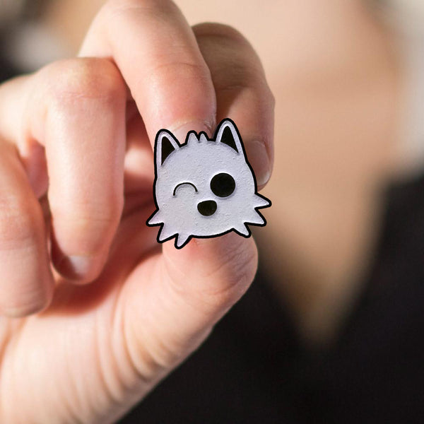 pomeranian face cute japanese anime pom love doggo enamel pin badge collector logo munjo