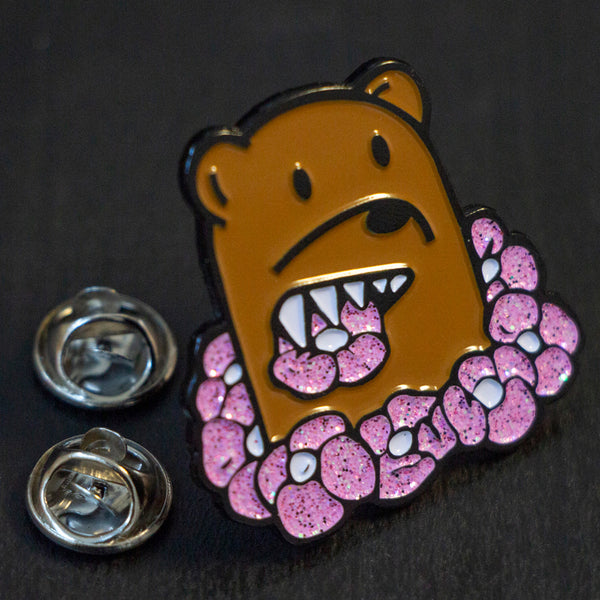 Chris Pyrate x Ambear collab enamel hat lapel pin glitter flowers street art streetwear graffiti art limited edition